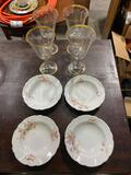(4) Wine Glasses & Plates