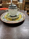 (2) Vintage Plates & Tea Glass