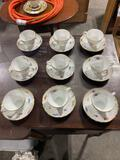 (9) Tea Cups with Saucers