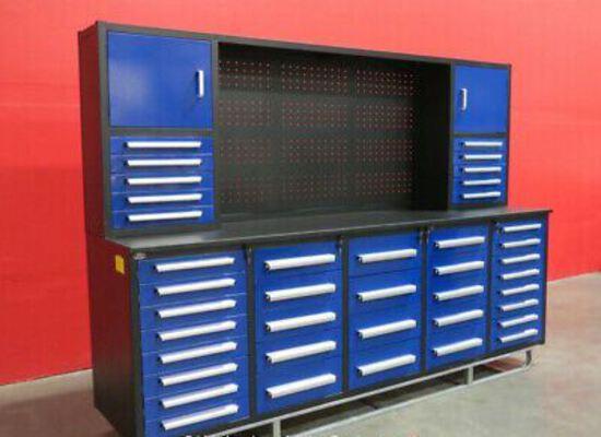 NEW 10' 40 Drawer Blue Workbench w/ Back