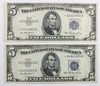 TWO 1953 $5.00 SILVER CERTIFICATES
