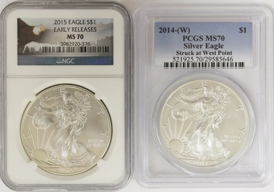 2014-W AND 2015 AMERICAN SILVER EAGLES