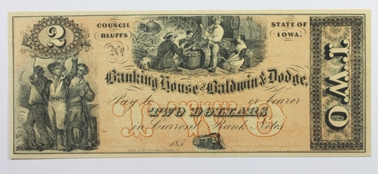 1850'S $2 BANKING HOUSE OF BALDWIN AND DODGE