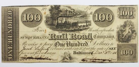 1838 $100 BALTIMORE AND SUSQUEHANNA