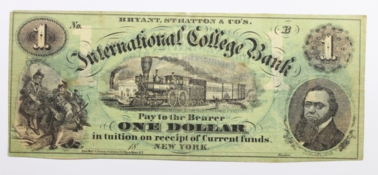 1860'S $1 INTERNATIONAL COLLEGE BANK