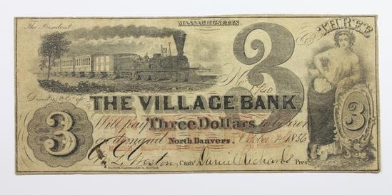 1856 $3 THE VILLAGE BANK