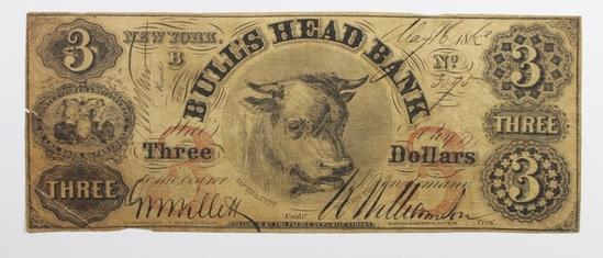1863 $3 BULLSHEAD BANK NEW YORK