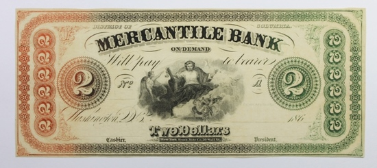 1860'S $2 MERCHANT'S BANK WASHINGTON, DC