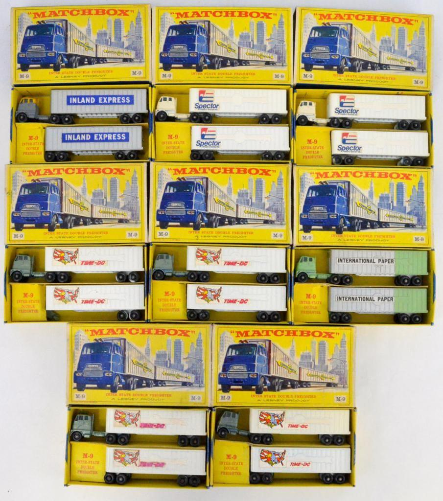 Eight Matchbox M-9 Inter State Double Freighter 2 Packs Custom Decorated in original boxes