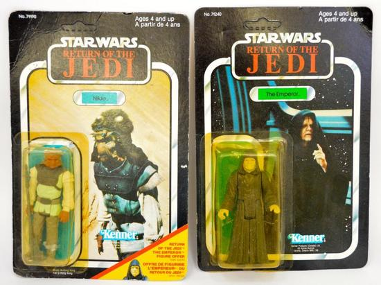 Unp. Kenner Canadian ROTJ Nikto and The Emperor Star Wars Figures MOSC MOC