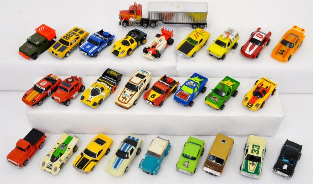 Huge group of 44 AFX Ideal and other slot cars and bodies