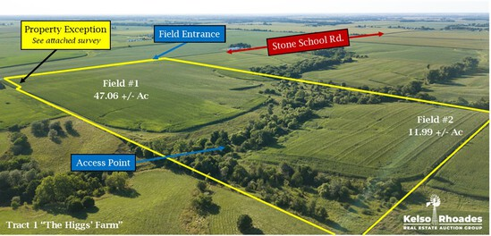 Tract 1:  The Higgs' Farm - 78.36 +/- Acres