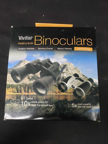 (2) VIVITAR BINOCULARS GT series 10x50 &5x30