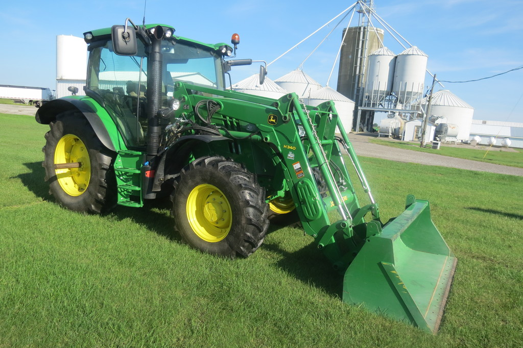 "John Deere 6115R MFWD tractor, 460/85R/34 rear, 380/85R/24 front, 7"" tou"
