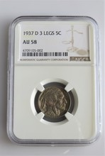 1937 D 3 Legged Buffalo Nickel AU58