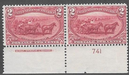 US Scott 286 Mint Pair 2 Cent Trans-Mississippi