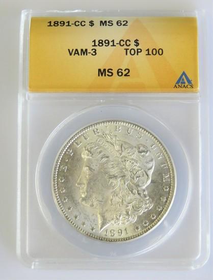1891-CC Morgan Dollar MS62 Spitting Eagle VAM