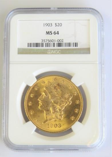 1903-P Liberty Gold $20.00 NGC MS64 **NICE**