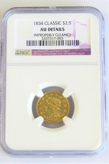 1834 $2.50 Classic Head Gold - NGC -AU Details