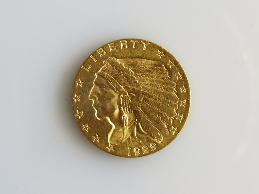 1929 $2.5 Gold Indian Quarter-Eagle in Choice Unc