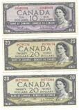 1954 Canada $10.00 and (2ct) $20.00 Notes
