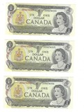 1974 Canada Three Consecutive $1.00 notes CU