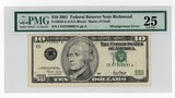 2001 $10.00 FRN Misalignment Error PMG VF25