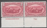 US Scott 286 Mint Pair 2 Cent Trans-Mississippi