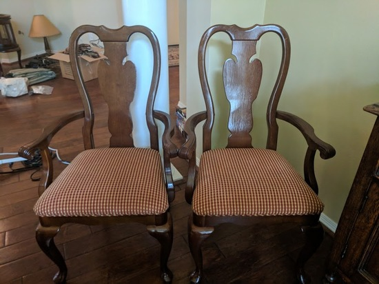 2 Solid Wood and Fabric Dining Room Chairs with Arms