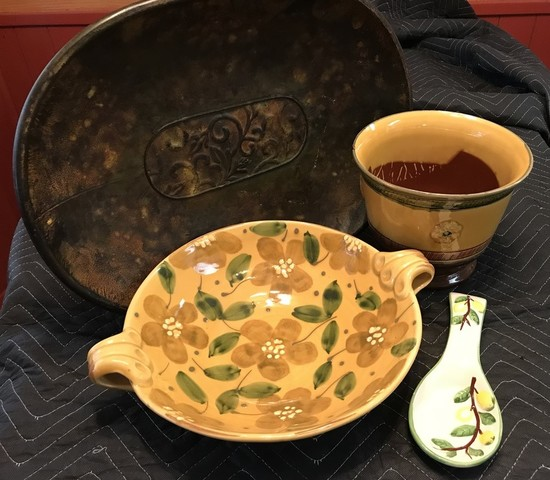 Decorative Ceramic Dishes & Metal Tray