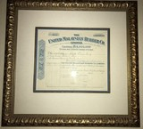 Framed United Malaysian Rubber Co Stock Certificate