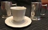 Tea Cup & Saucer and 2 Indonesian Pewter Mugs