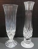 Lot of 2 crystal bud vases