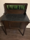Small Antique Buffet with Tile Backsplash and Marble top
