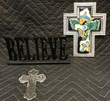 Pewter and porcelin cross and Belive Decorations