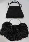 Lot of 2 black silk and velvet purses