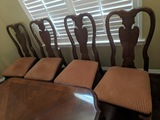 4 Solid Wood and Fabric Dining Room Chairs
