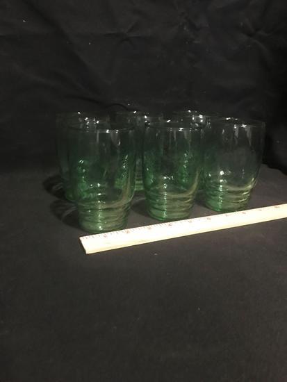 Set of Green Libbey Glasses