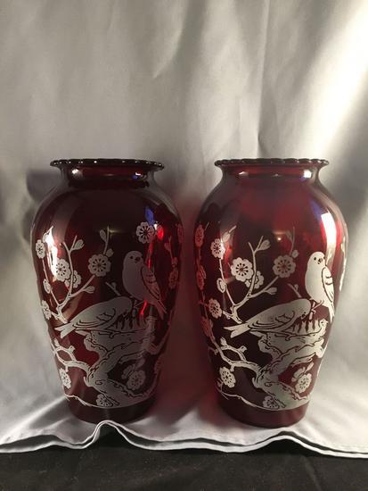 Pair Of Ruby Vases