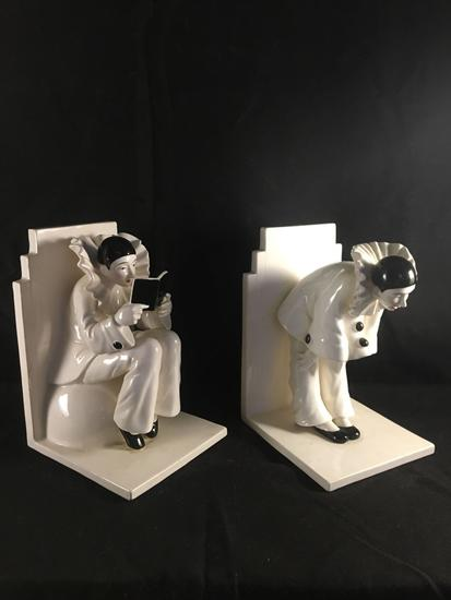 Pair Of Pierrot Clown Bookends By Sigma