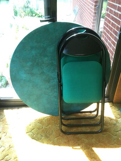 Retro Green Top Card Table With Two Chairs