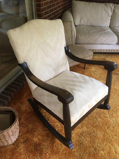 Large White Upholstered Rocking Chair