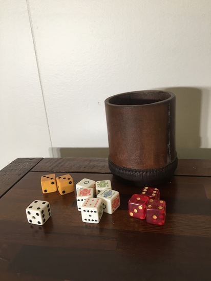 Leather Dice Cup With Vintage Dice