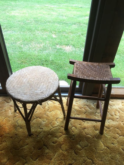 Wicker Table With Wicker Seat Stool