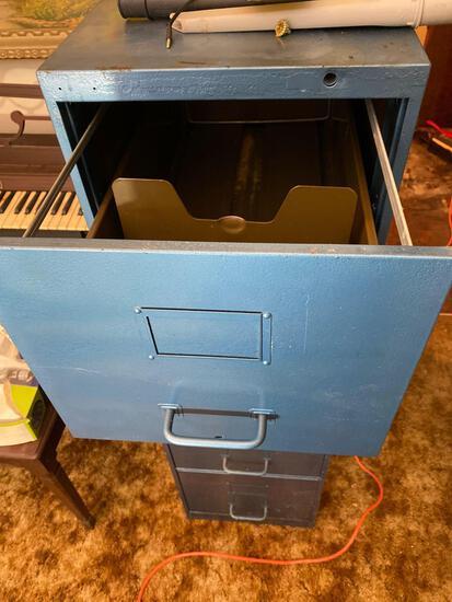 Blue Four Drawer Vintage File Cabinet