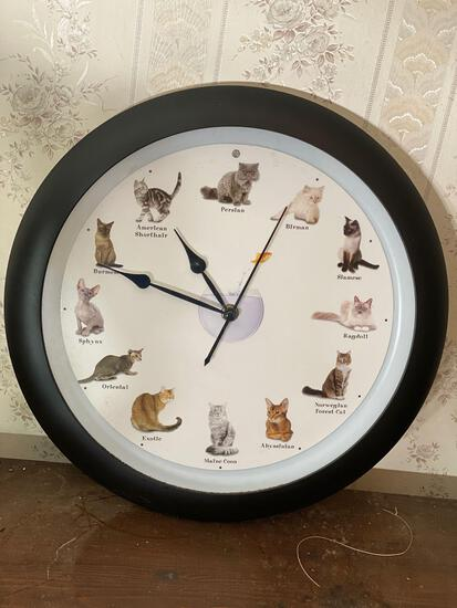 Cat Clock With Breeds Meow On Each Hour