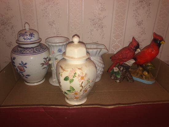 Vases Urns and Cardinals Decor