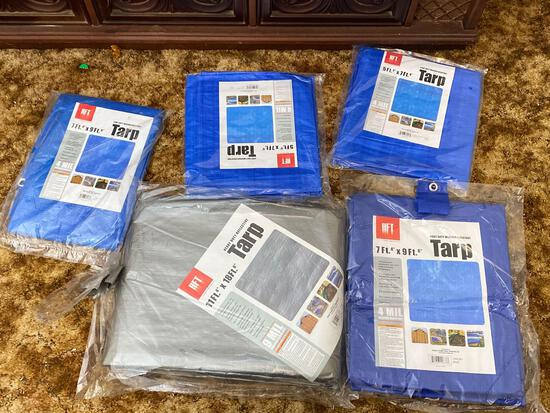 Five Assorted New In Package Tarps