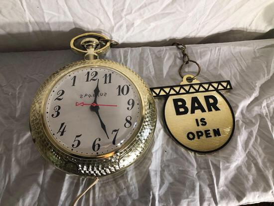Bar Is Open/Closed Sign And Wall Clock