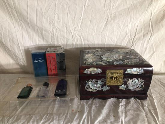 Vintage Jewelry Box And Cologne